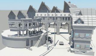复古式的欧式街道Maya模型