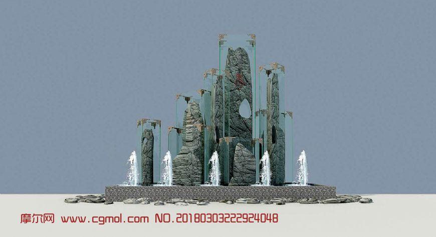 江南灵秀雕塑,无贴图,无水柱