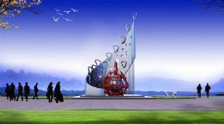 爱心+和谐雕塑设计