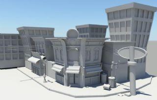 美式商铺街道街景maya模型