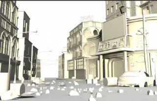 杂乱的街道场景maya制作