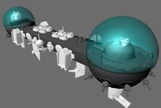 太空基地,太空城maya模型