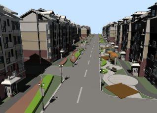 小区+车道设计max模型