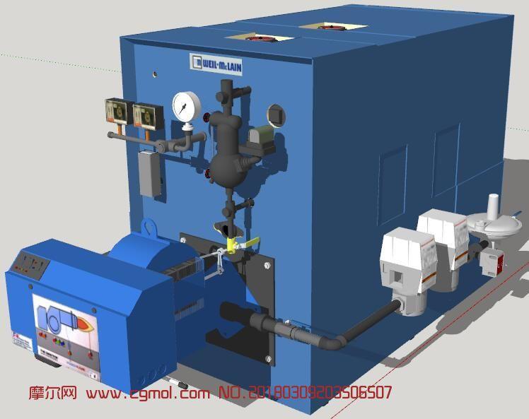 蒸汽锅炉设备su模型