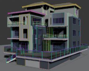 一个现代三层农村别墅max模型