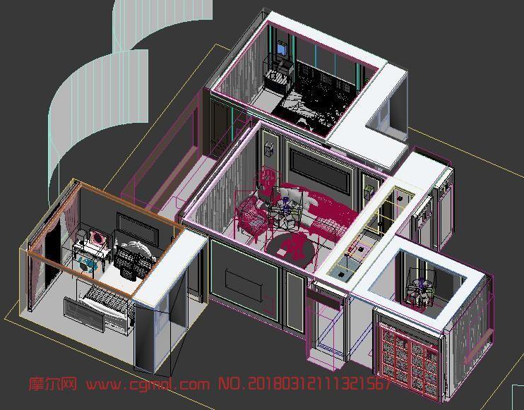室内全套模型简欧风格130平