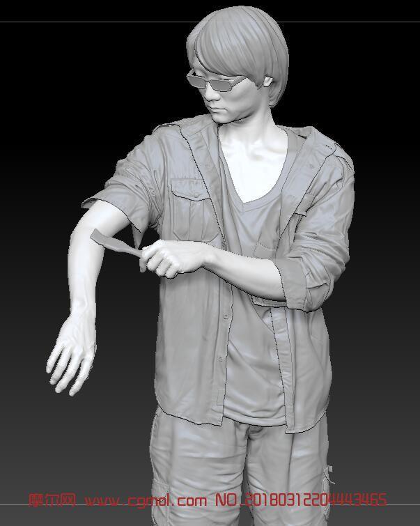 带眼镜的青年画家zbrush模型(网盘下载)