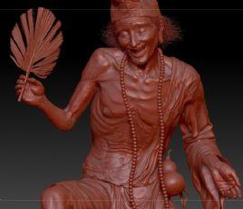 高精细济公雕塑zbrush模型,神作(网盘下载)
