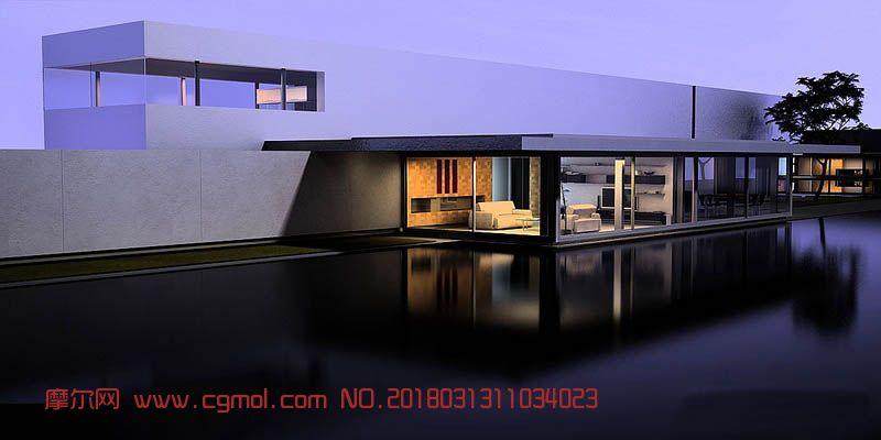 带游泳池的度假酒店客房max模型