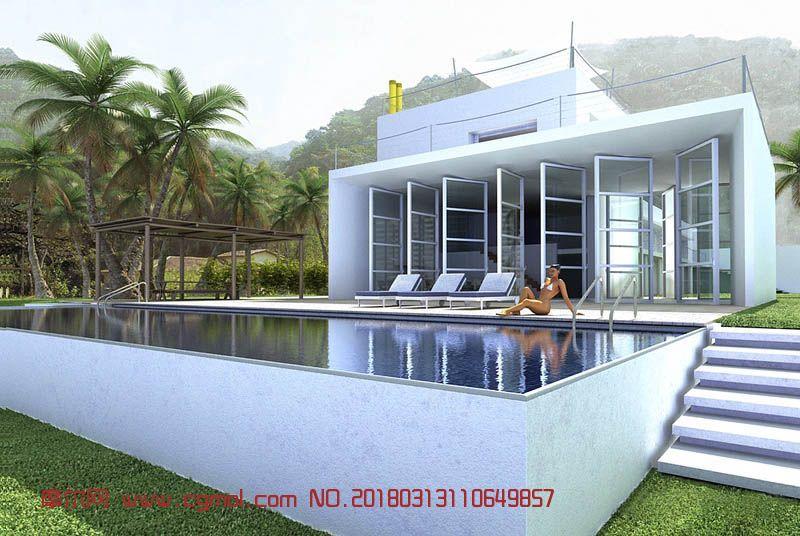 现代游泳池别墅max模型(网盘下载)