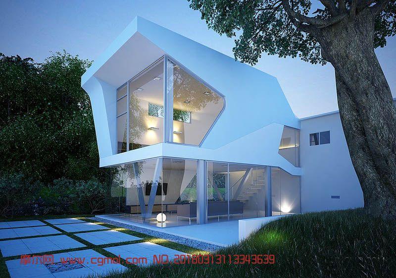 透明玻璃阳光别墅max模型(网盘下载)