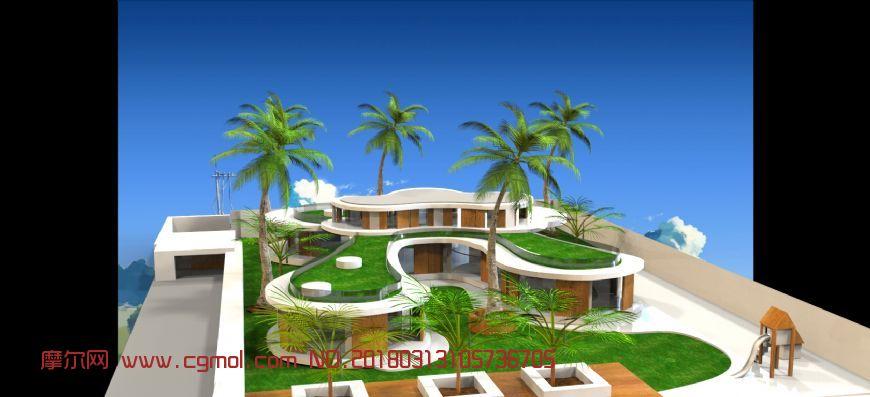 热带海边度假酒店设计,无贴图