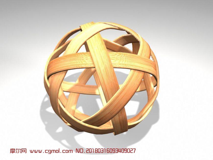 竹编球,编织球maya2009模型