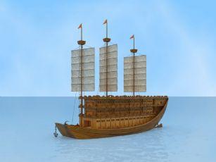 古船,木船,楼船max模型