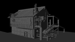 maya木制古风房子制作