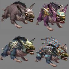 四种形态的森林狼,备战,攻击等动作