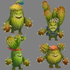 沙拉克仙人掌怪物,四种形态,带动作