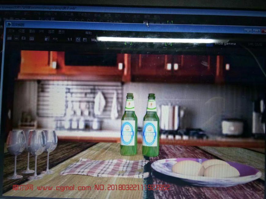 啤酒瓶+高脚杯+鸡蛋+抹布等静物maya模型