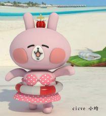 卡通可爱的粉�t比基尼兔子,卡娜赫拉