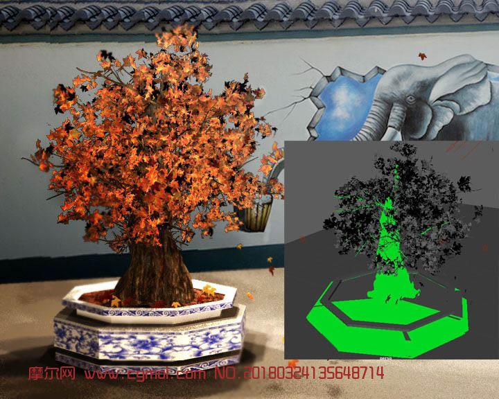 原创树木盆景maya模型,白模