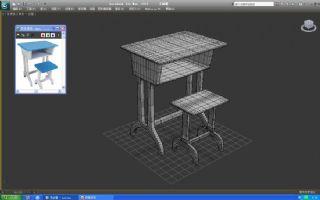 学生课桌椅组合max模型