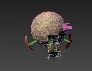 机械球形机器人带侦查,行走,螺旋桨飞行动画
