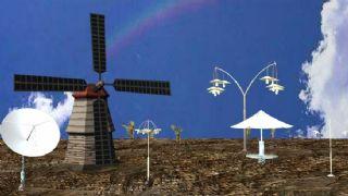 风车+雷达+麦田场景maya模型