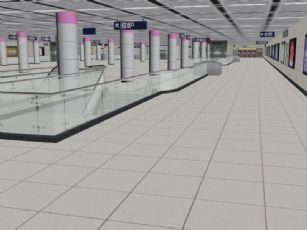 中南路地铁站场景max模型,带材质贴图模型,简模