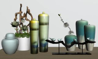 现代新中式花瓶器皿摆件组合