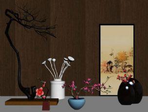 新中式摆件花艺器皿墙式陈设品组合