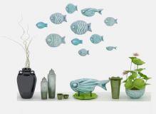 中式鱼荷叶盆栽