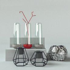现代简约玻璃瓶金属镂空装饰