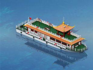 仿古中式�^光游�[船