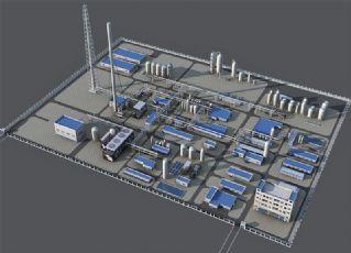 化工厂,能源厂整体设计max模型
