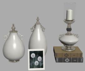 �W式金�俚鬃�白色瓷瓶