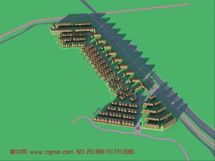 小区整体鸟瞰设计max模型(网盘下载)