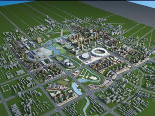 市区体育馆,文体馆,商业楼规划设计max模型(网盘下载)