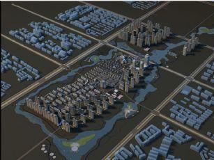 小区规划设计鸟瞰模型(网盘下载)