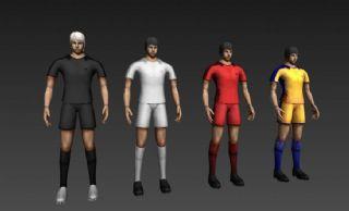 四个足球运动员,守门员max模型