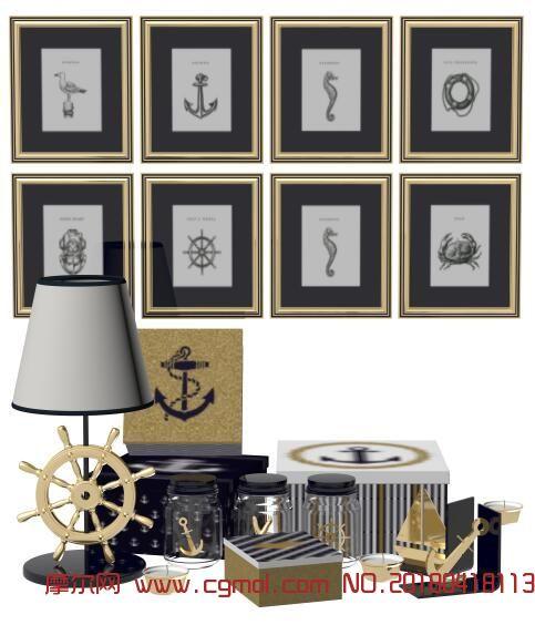 挂画,船舵,地中海元素装品