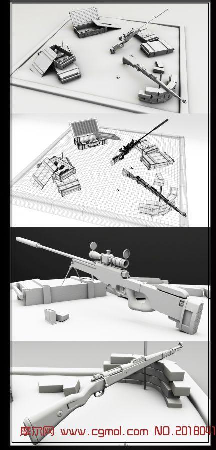 Kra98k+Awp+武器箱+手榴弹maya模型