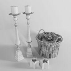美式竹筐花篮烛台