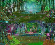 卡通树林空地深处场景