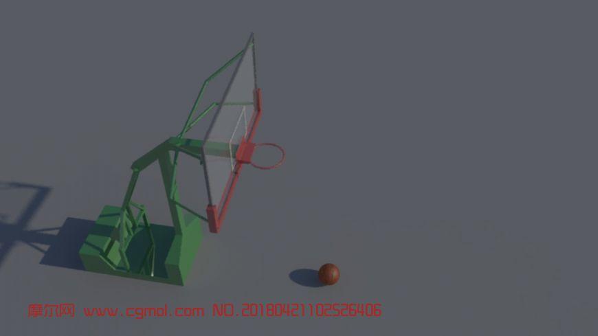 篮球架+篮球maya场景