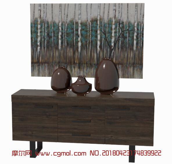 美式装饰棕色陶罐+矮柜