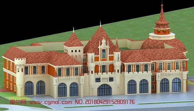 建筑模型 其他建筑  标签:城堡幼儿园欧式 作品描述:有模型和贴图无