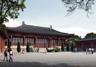 戚城公园汉代古建大殿透视