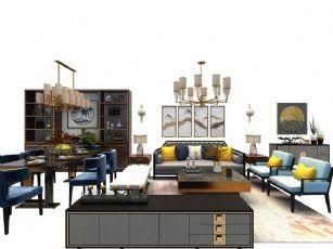 新中式布艺沙发茶几餐桌椅装饰柜吊灯组合