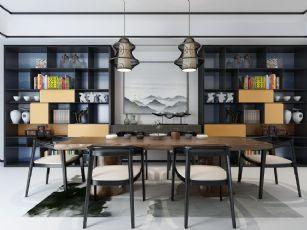 新中式餐桌椅��柜�M合