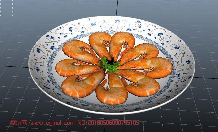 油焖大虾菜肴maya模型